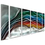 """Pure Art Colorful Rainbow Wave - Large Handcrafted Silver Abstract Metal Wall Art Decor - Set of 6 Panels, Modern Hanging Sculpture, Artwork for your Home, Business, Office - 65"""" x 24"""""""