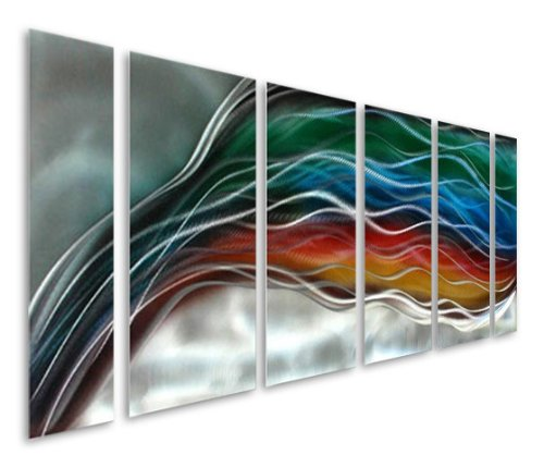 "Pure Art Colorful Rainbow Wave - Large Handcrafted Silver Abstract Metal Wall Art Decor - Set of 6 Panels, Modern Hanging Sculpture, Artwork for Your Home, Business, Office - 65"" x 24"""