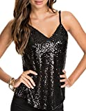 HaoDuoYi Womens Sparkly Sequin V Neck Spaghetti Strap Party Top Shirt
