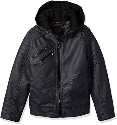 Urban Republic Boys' Big Artsy Faux Leather Moto Jacket, Navy, 8 (Urban Moto Jacket)