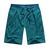 Ninasill Hot!Men's Plaid Printed Straight Surfing Beach Shorts Large Size Tethered Sports Shorts Summer Swimming Pants Light Blue