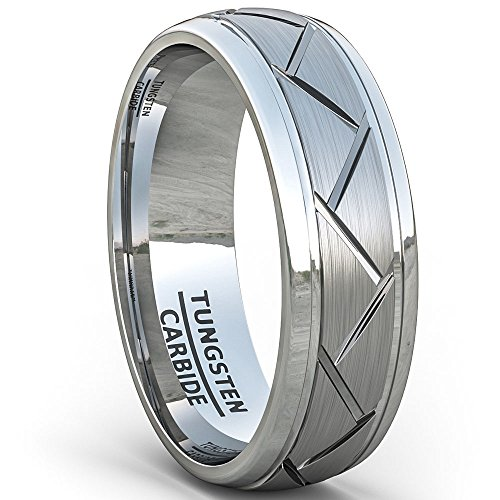 - Duke Collections Tungsten Ring Brushed Zigzag Groove Wedding Bands 8mm Comfort Fit (9.5)