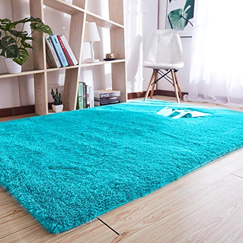 Noahas Super Soft Modern Shag Area Rugs Fluffy Living Room Carpet Comfy Bedroom Home Decorate Floor Kids Playing Mat 4 Feet by 5.3 Feet,Blue
