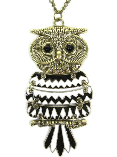 Magic Metal Articulated Owl Necklace Black White Striped ND00 Retro Bird Animal Gold Tone Pendant