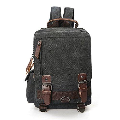 (Small Canvas Travel Backpack Purse Rucksack One Strap Sling Cross body Messenger Bag (Black))