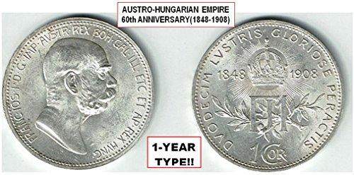 1908 AT AISTRO-HUNGARIAN EMPIRE 1908 SILVER ANNIVERSARY CORONA (60 YRS RULE BY FRANZ JOSPEPH) RARE 1-YEAR TYPE in TOP CONDITION! 1 CORONA Brilliant Uncirculated