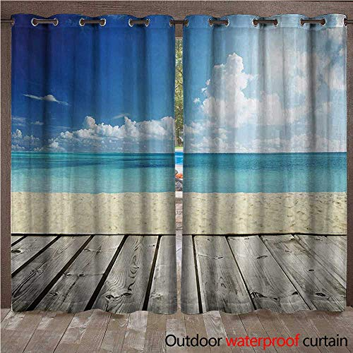 BlountDecor Landscape Door/Gazebo Curtain Tropical Beach from Wooden Pier with Sky Landscape Summer View ImageW120 x L96 Cream Turquoise White (Pier Right Lighted)