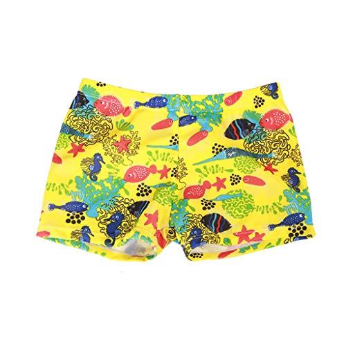Baby Kids Boys Swim Trunk Summer Print Quick Dry Eastic Waist Beach Shorts Toddler Boy Swimwear Pants (Age: 3-5 Years, Yellow) (Best Diaper For Skinny Baby)