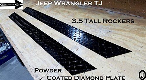 J & O Carts Parts Jeep Wrangler TJ 3.5 Tall Rocker Panels Black Powder Coated Aluminum Diamond Plate