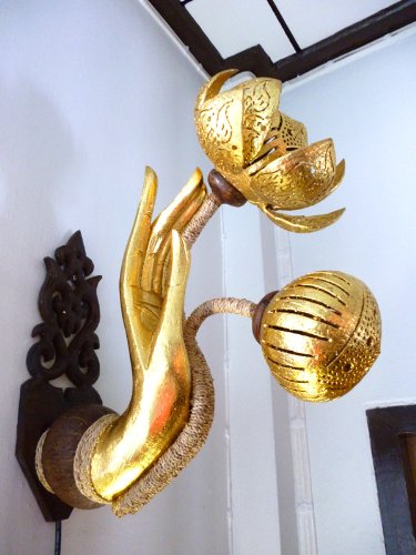 Antique Vintage Thai Coconut Shell Wall Lamp and Desk Lamp by Handmade