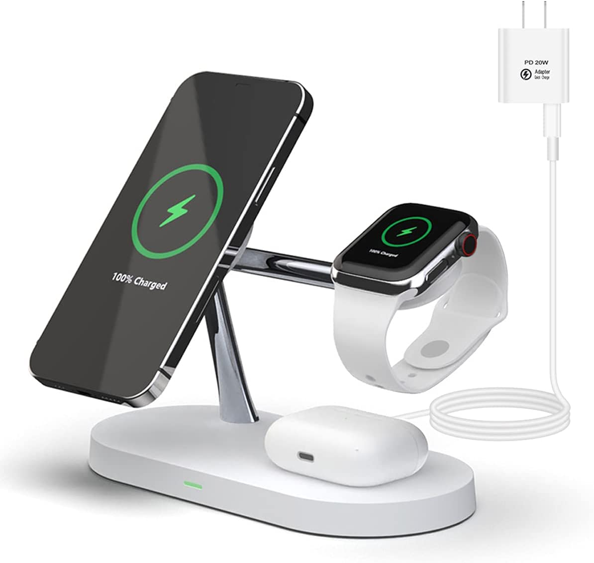 PONKET 4 in 1 Magnetic Wireless Charger Station Compatible with MagSafe, 20W PD Adapter Fast Wireless Charging Stand for iPhone 12/12 Pro Max/Mini/AirPods Pro/AirPods 1/2 iwatch Series -White