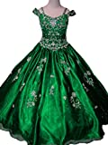 Sunday Big Girls' Crystal Kids Party Princess Ball Gowns Pageant Dresses 10 US Green