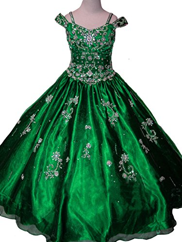 Sunday Big Girls' Crystal Kids Party Princess Ball Gowns Pageant Dresses 10 US Green by Sunday Inc