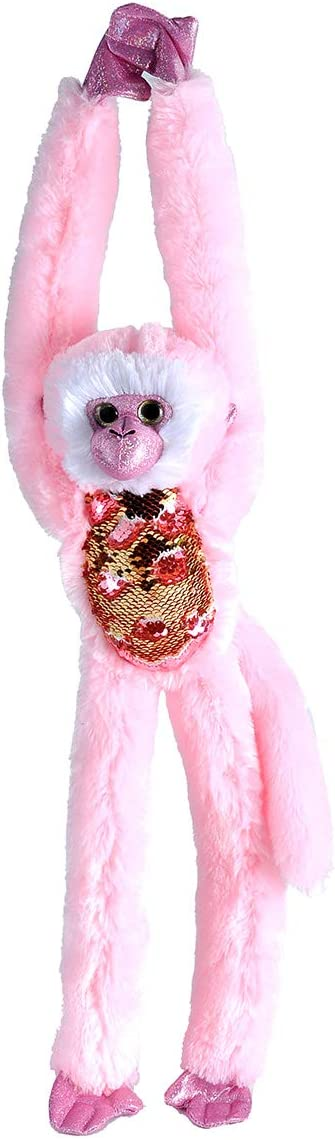 Wild Republic Sequin Monkey Plush, Stuffed Animal, Sensory Plush Toy, Gifts for Kids, Green, 22 inches, Pink