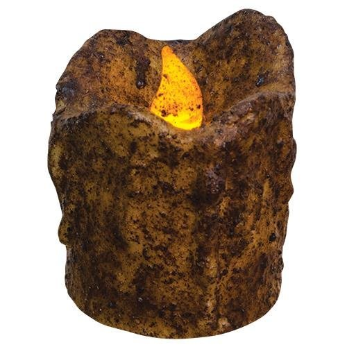 Heart of America Burnt Mustard Mini Dripped Timer Pillar