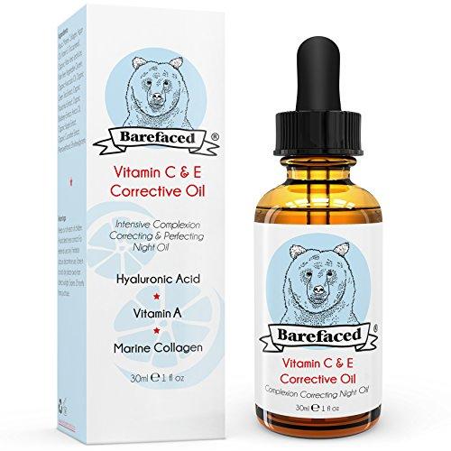 BeBarefaced Vitamin E Öl Nacht Elixier Gesichtsöl Mit Hyaluronsäure und Vitamin C - Hybrid Anti Aging Ölbasis Serum für alle Hauttypen