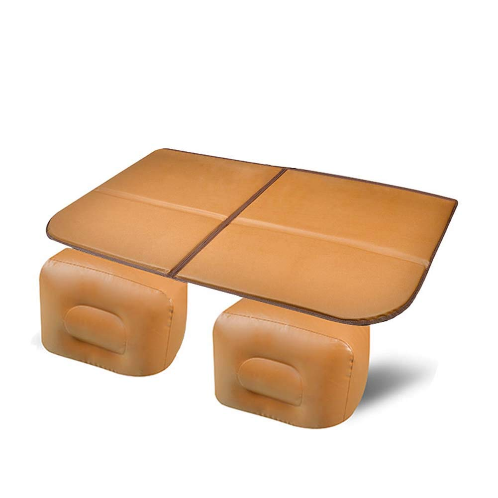 Brown Car Inflatable Bed Back Seat, Travel Inflatable Mattress Air Bed Cushion Camping Universal SUV Extended Air Couch,Carved