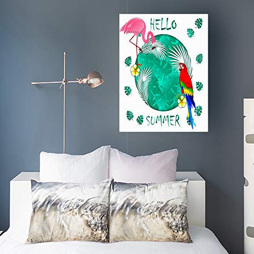 Canvas Print Wall Art Summer Banner Carved Palm Leaves Tropical Holidays 3D Flamingo Parrot Flowers Wooden Frame Stretched Artwork Painting 16 x 16 Home Decor Sofa Bedroom Living Room (Carved Palm Leaf)
