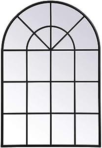 Elegant Decor Metal Windowpane Mirror 36 inch in in x 53 inch in in Black
