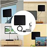 TV Antenna Indoor Amplified HDTV Antenna with Detachable Amplifier Signal Booster, 16.5ft Coax Cable, 50 Mile Range, USB Power Supply, 2018 Newest