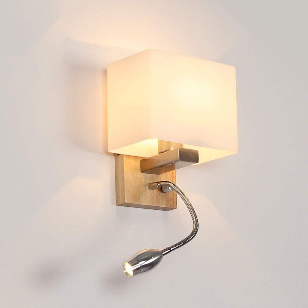 EMILF Home Nordic Bedside Reading lamp Moderne chinesische hölzerne Wandleuchte Flurlampe mit Schalter Wandleuchte