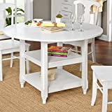 ModHaus Living Modern White 48 inch Round Cottage Country Dining Table with Two Shelves – Includes Pen Review