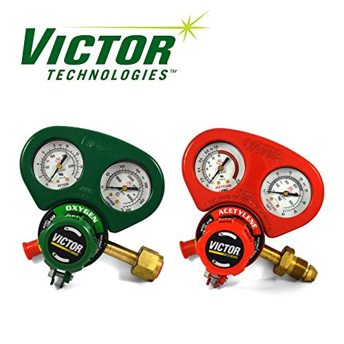 (Set of Medium Duty Victor Oxygen & Acetylene Regulators w/Metal Gauge Guards)