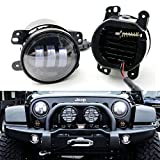 "iJDMTOY (2) Black Bezel 30W High Power CREE 4"" Round LED Fog Lights For Jeep Dodge Chrylser (Also fit many other car with 4"" fog lamp openings)"