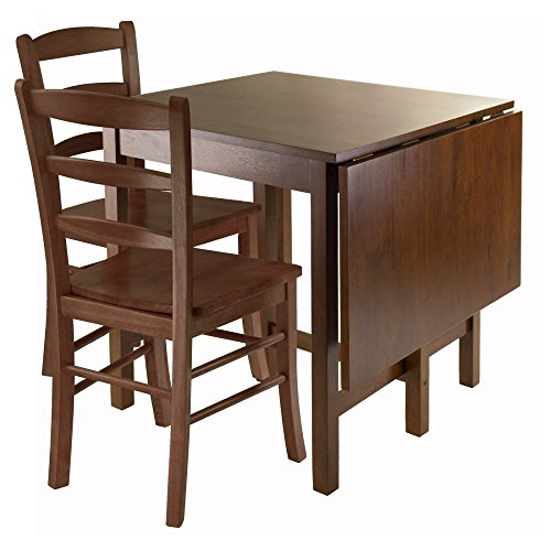 Winsome Lynden 3-Piece Dining Table with 2-Ladder Back Chairs (Drop Leaf Chairs Table And)