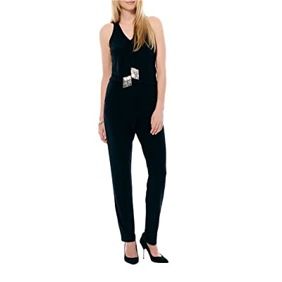 Laundry by Shelli Segal Womens Black Sleeveless Jumpsuit: Clothing