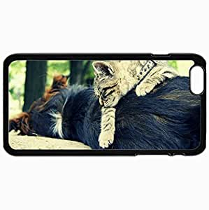 Customized Cellphone Case Back Cover For iPhone 6 Plus, Protective Hardshell Case Personalized Cat Dog Sleeping Friends Black