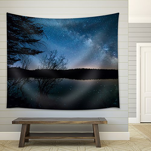 Milky Way with Trees Fabric Wall Tapestry