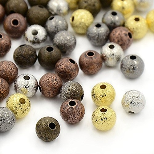 Mixed Color Round Brass Metal Stardust Glitter Spacer Beads- Lead Free- 6mm ()
