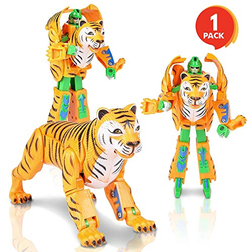 ArtCreativity Tiger-Robot Transformer Action Figure | 13 Moving Parts | Cool Transforming Tiger Toy for Kids | Fun Birthday Gift Idea for Boys and Girls | Cool Contest or Carnival Prize -