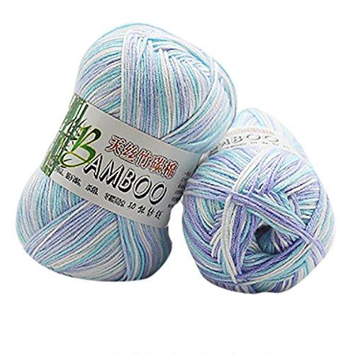 Wool Yarn, Sacow Natural Bamboo Cotton Knitting Yarn Kaleidoscope Yarn Crochet Knitwear Soft Yarn (F) ()