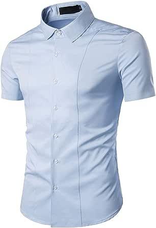 Gdtime Camisa Manga Corta Hombre Slim Fit Transpirable para Negocios Boda Ocio Fácil-Hierro