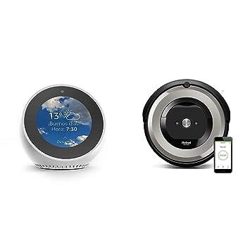 Echo Spot blanco + iRobot Roomba e5154 - Robot Aspirador Óptimo Mascotas, Succión 5 Veces