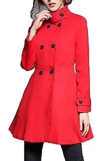 Amazon.com: POTO Abrigos de lana para mujer, con doble pecho ...