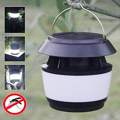 BuyYourWish Solar Power Sonic Wave Anti-mosquito LED Light Garden Stainless Steel Waterproof Lamp One Piece by BuyYourWish