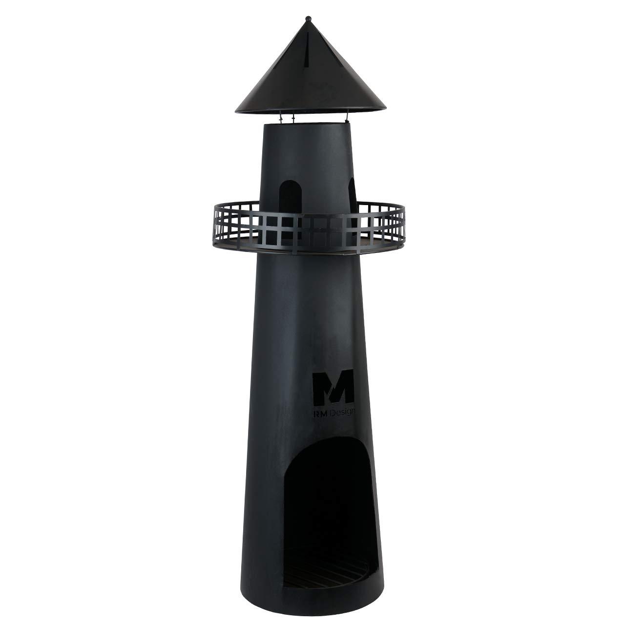 RM Design Gartenkamin aus Metall in schwarz 131 cm hoch Terrassenofen/Terrassenkamin als Feuerschale oder Feuerkorb fü r den Garten