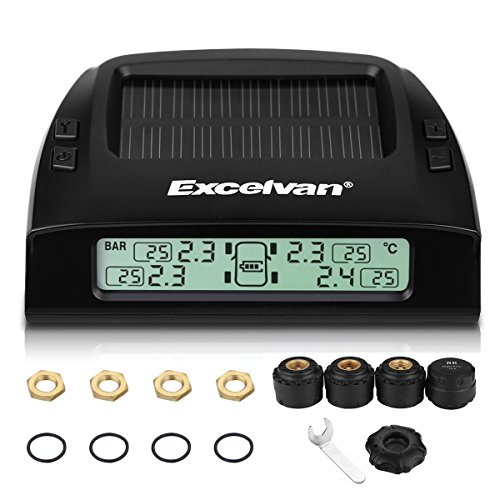 Excelvan Wireless Solar Rechargeble Digital LED Tire Pressure Monitoring System TPMS with 4 External Sensors Pressure Range 0~6 Bar (0~87 Psi)