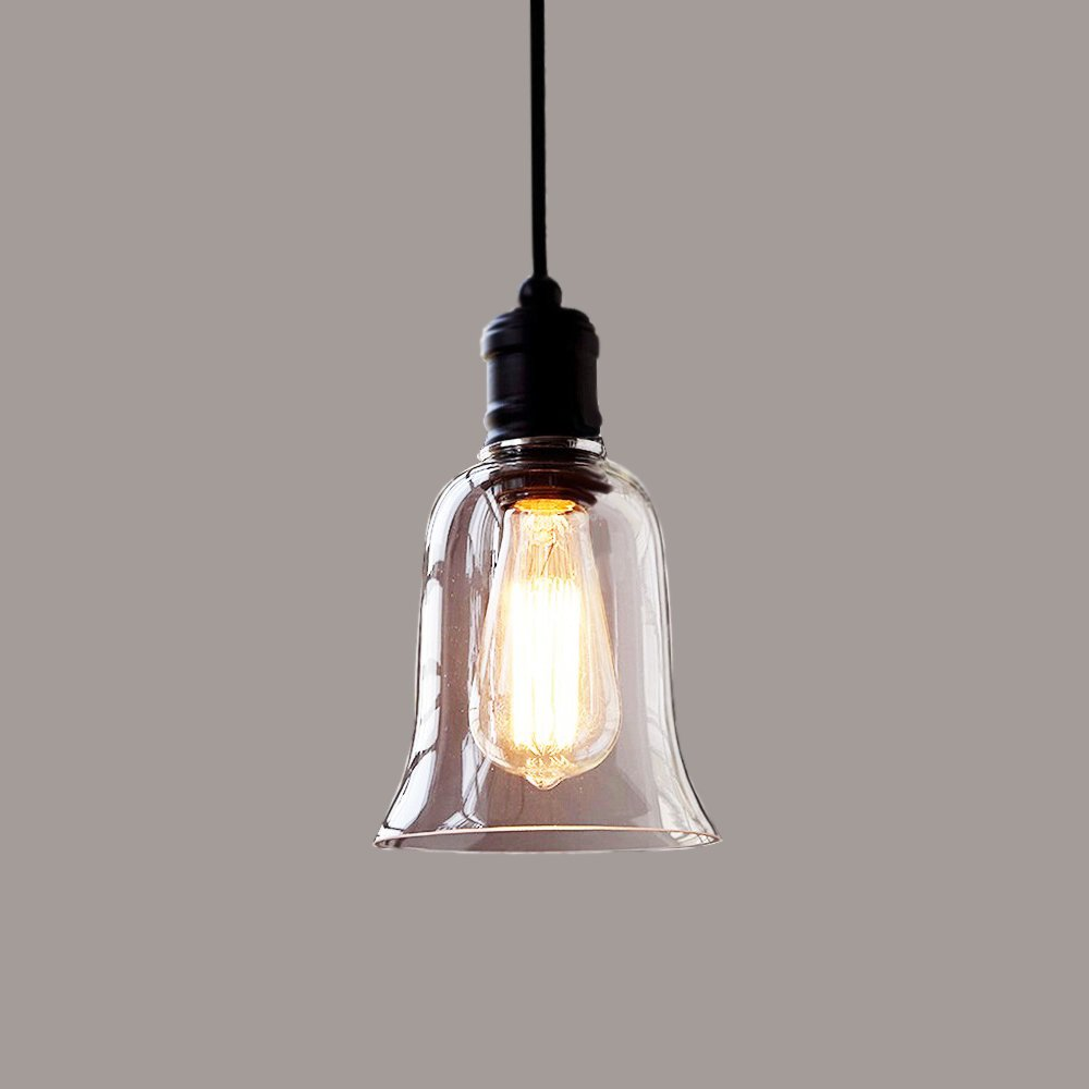 Minimalist Glass Chandelier, MKLOT Ecopower Vintage Pendant Light Loft Style Hanging Lighting 5.51'' Wide Big Bell Glass Shade Ceiling Lamp Pendent Fixture 1 Light