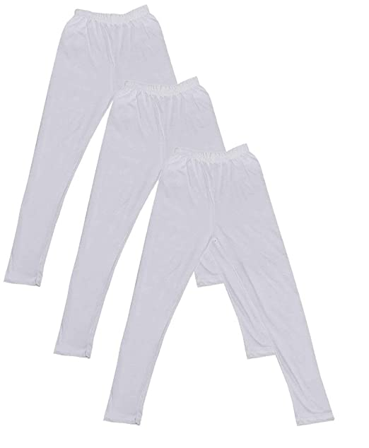 Indistar Little Girls Cotton Full Ankle Length Solid Leggings -Multiple Colors-4-5 Years Pack of 5