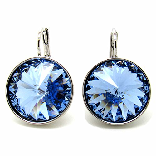 Swarovski Pierced Bella Earrings (CP Large Bella Light Sapphire Rhodium-plated Earrings Made with Swarovski Crystals)