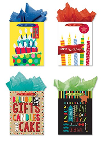 Set Birthday Happy Gift (Happy Birthday! 4 Medium Sized Party Gift Bags - Set of 4 Gift Bags w/Tags & Tissue Paper)