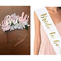 Propsicle Bride to Be Sash & Bride Tiara Combo Rose Gold Bride to Be Crown Bridal Head Band / Bachelorette Party Decoration Props - Pack of 2