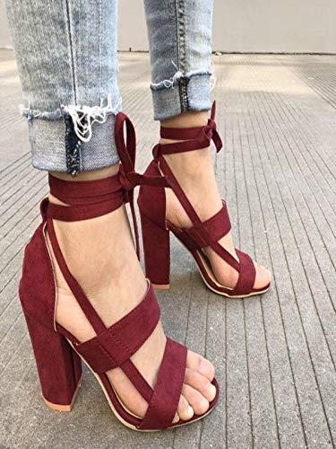 souliers Et Daims Talons Makalon Des Sandales Respirants Antidérapants Lacets Pour Sandettes Vineux Élégantes des Hauts En Hauts Femmes Chaussures Rouge À des gFUUwqz
