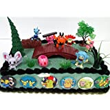 Pokemon 18 Piece Birthday Cake Topper Set Featuring 8 RANDOM Pokemon Character Figures and Other Decorative Themed Accessories