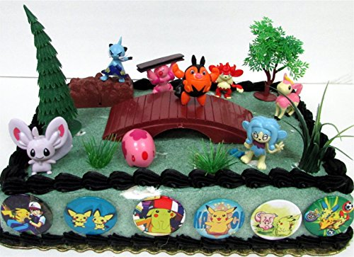 Pokemon 18 Piece Birthday Cake Topper Set Featuring 8 RANDOM Pokemon Character Figures and Other Decorative Themed Accessories ()