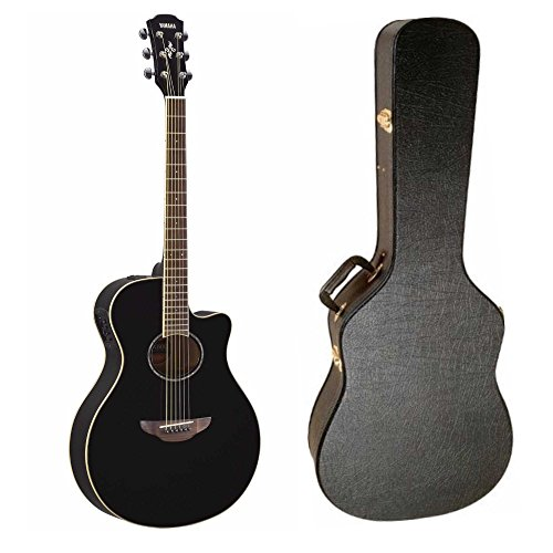 Yamaha APX600BL Thinline Acoustic-Electric Guitar (Black) with Hardshell Guitar Case